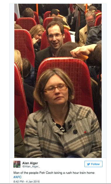 Arsenal star Petr Cech gets rush hour train home with commuters