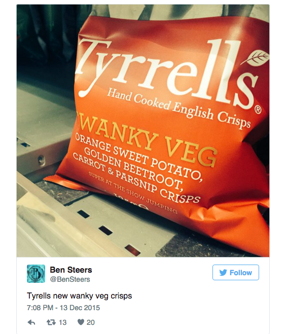 "tyrells 'swanky veg' crisps as ""an exotic mélange of lavish veggies, with just a pinch of sea salt to let them sing"". Twitter noticed something much less exotic about them."