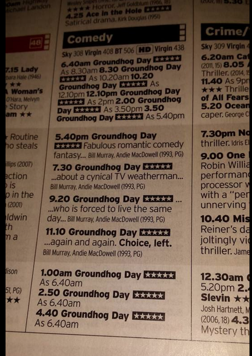 Sky Movies Groundhog day