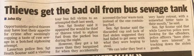 fuel thieves drink poo