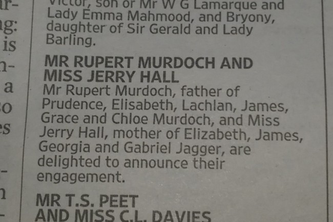Jerry Hall murdoch the times announcement