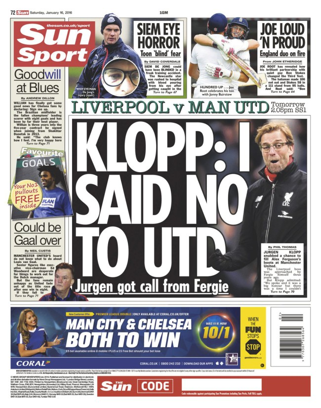 Klopp backpage Manchester United
