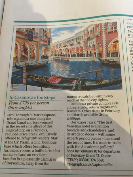 illustrated an advertorial today on Venice with a pic of The Venetian hotel, Las Vegas