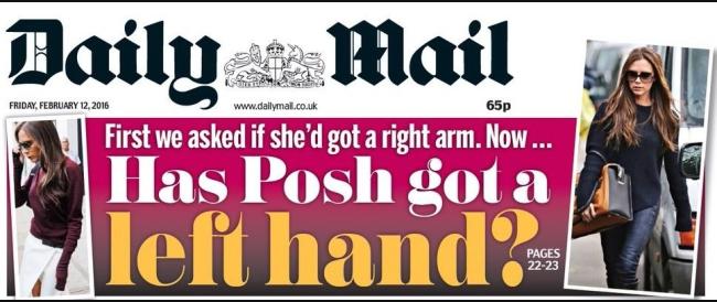 daily mail victoria beckham no hand