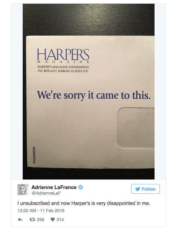 Cancel your subscription to Harper's magazine and receive this desperate letter