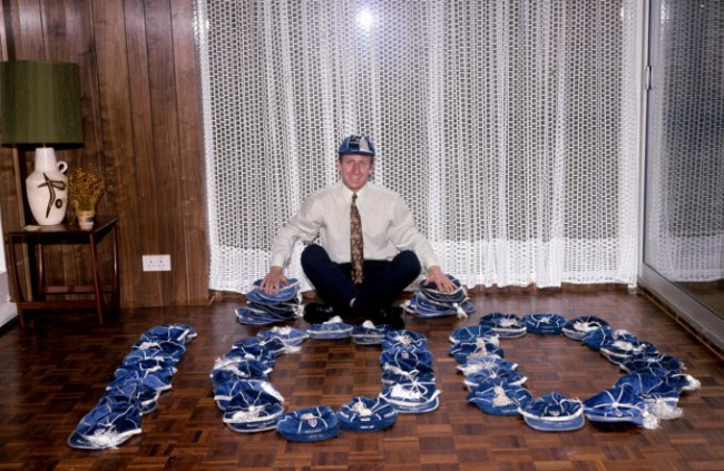 England's Bobby Charlton poses with his 100 caps