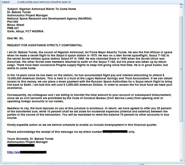 Funny Email: A Selection Of Funny Nigerian Spam Letters