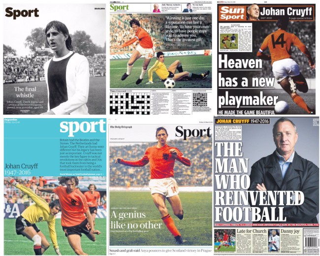 Johan Cruyff newspapers