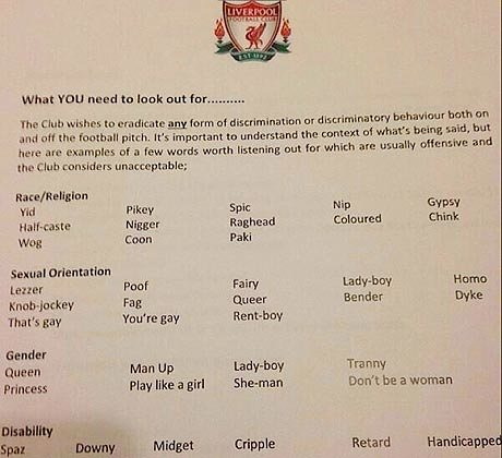 Liverpool banned words