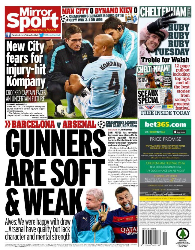 arsenal soft daily mirror