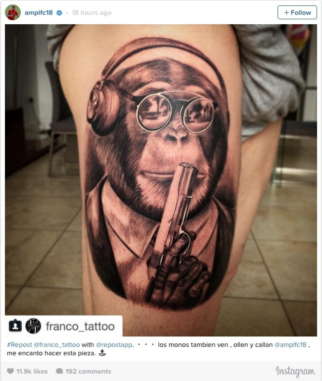 ALBERTO MORENO 'GUN-TOTING CHIMPANZEE' TATTOO