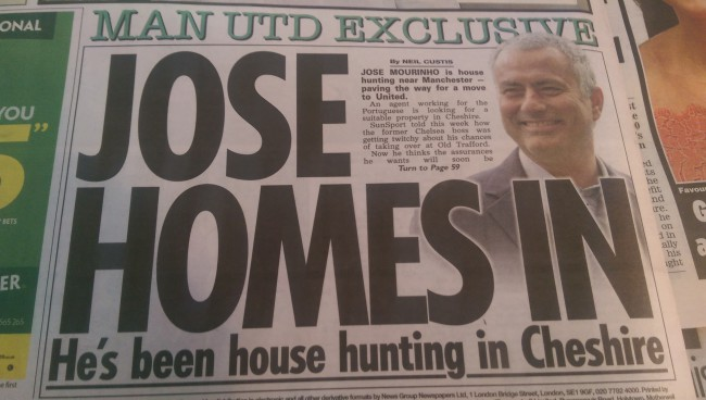 Jose Mourinho Manchester United the sun