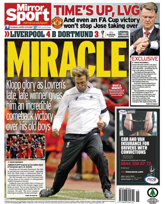 van gaal sacked mirror