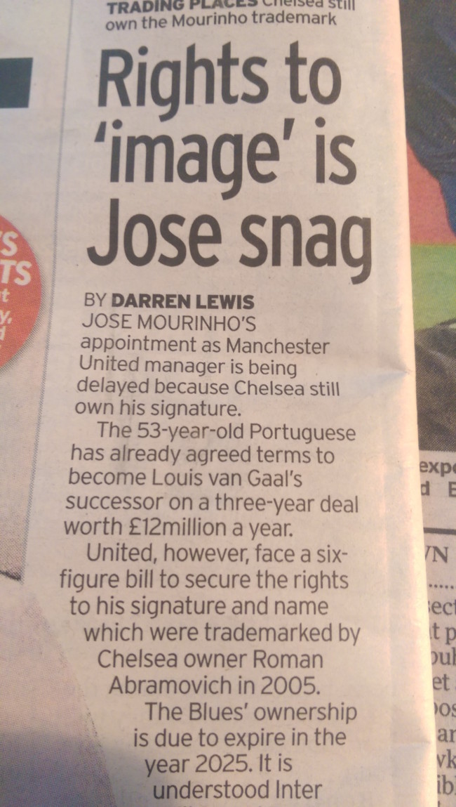 Jose image rights Manchester United Mirror Chelsea