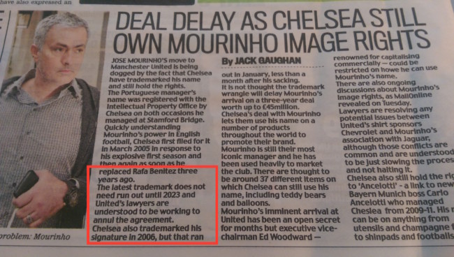 Jose image rights Manchester United Mail Chelsea