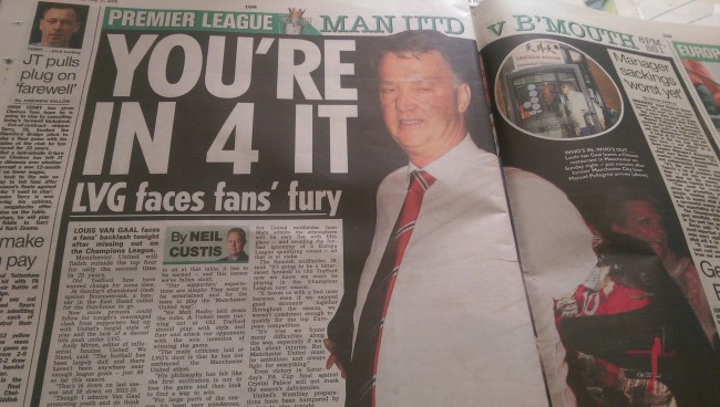 Van Gaal man united the sun sacked