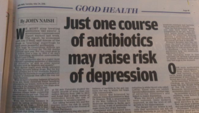 depression antibiotics