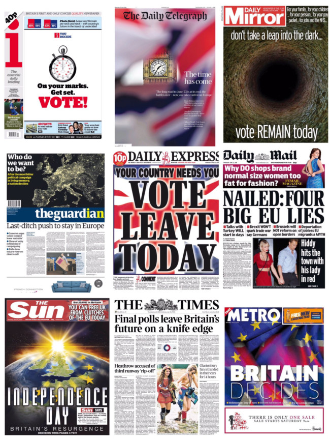 Eu referendum vote front pages