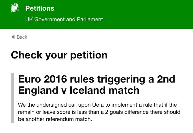 iceland England petition