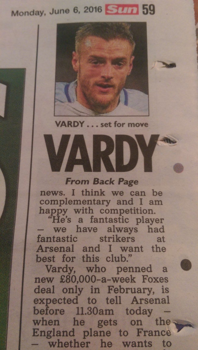 Jamie Vardy the sun arsenal