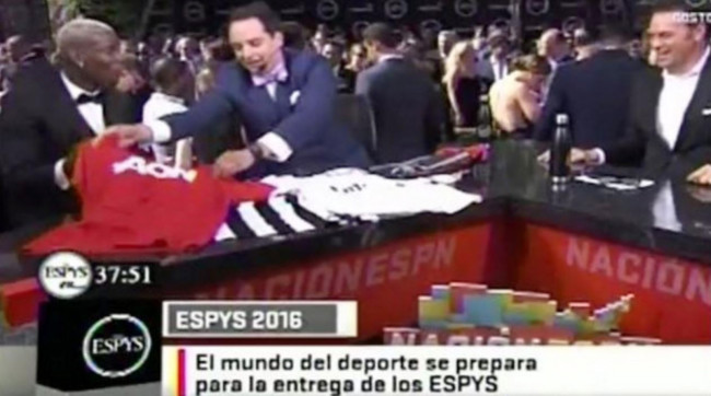 Paul Pogba receives Manchester United, Juventus and Real Madrid shirt on pre ESPYS award talk