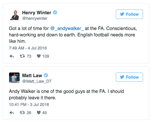 FA shame fury andy walker