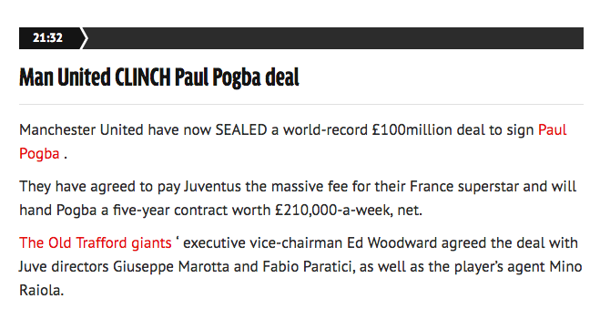 Pogba signs United Daily Mirror