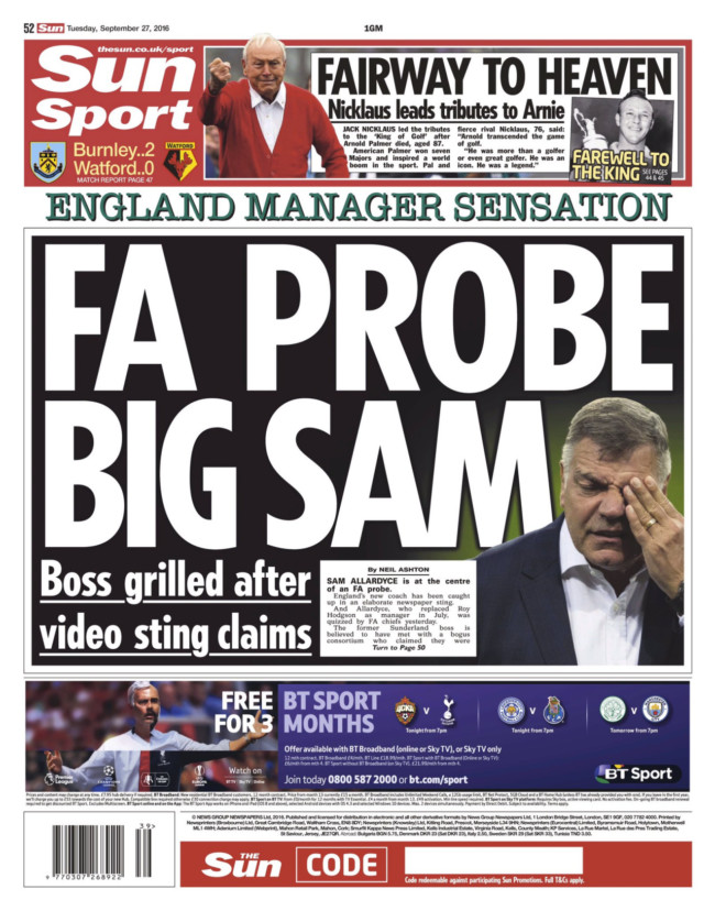 Allardyce sam sting money