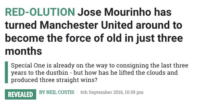 Jose Mourinho the sun Manchester United
