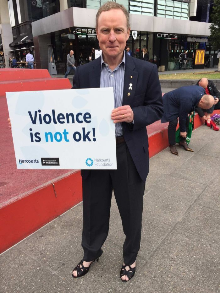 Former Army chief David Morrison says no to domestic violence at a Walk a Mile in their Shoes event.