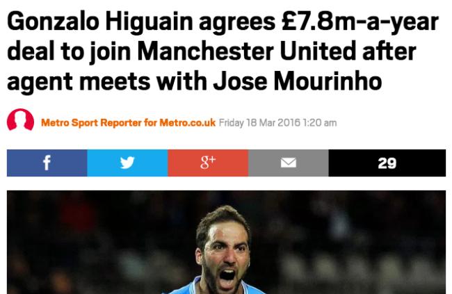 Higuain Manchester United