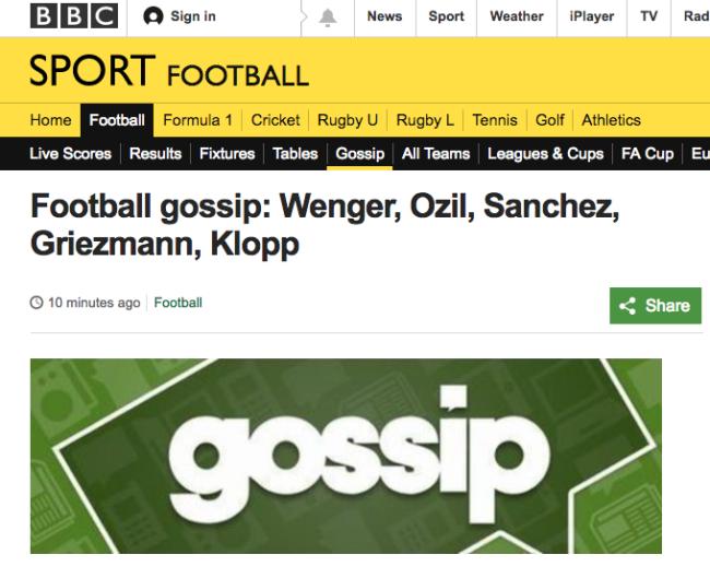 BBC football gossip