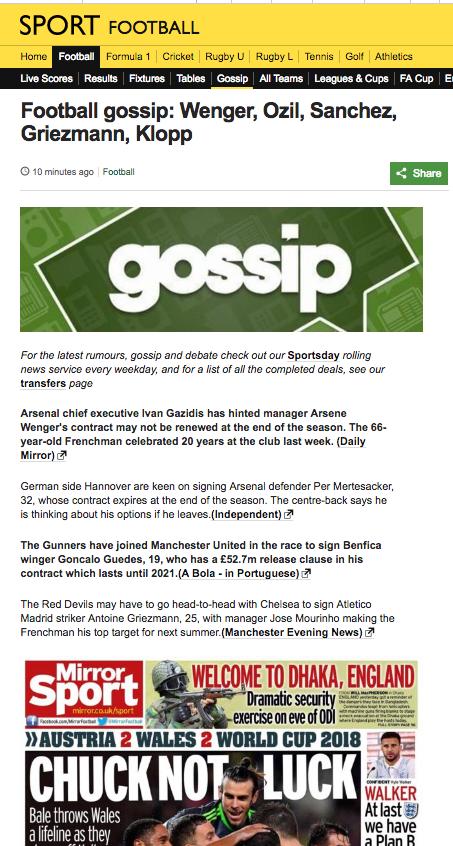 BBC gossip fotball