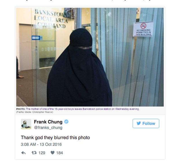 pixelated face court Muslim