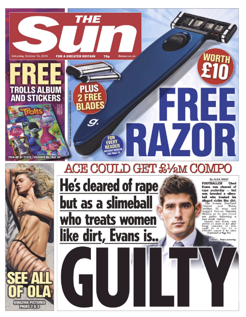 Ched Evans innocent the sun