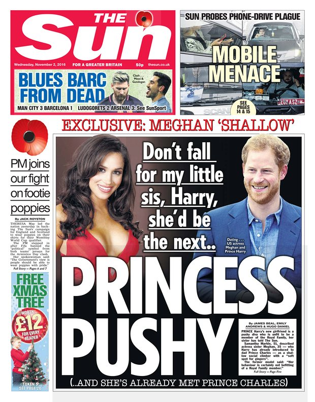 Megan Markle tabloids the sun