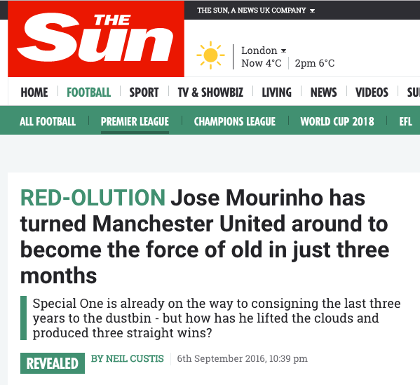 the sun mourinho jose Manchester United Neil Curtis