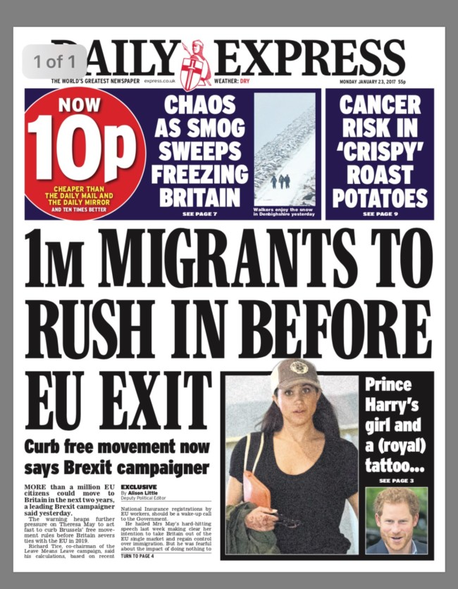 daily express migrants brexit