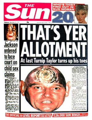 The Sun headline on 24 November 1993 following Taylor's resignation as England manager.