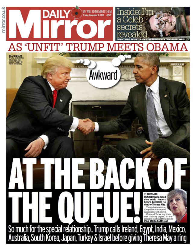 donald trump theresa may daily mirror
