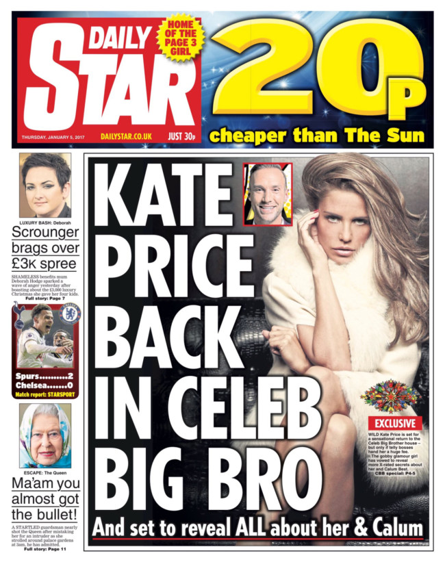 Katie Price Celebrity Brother Daily Star