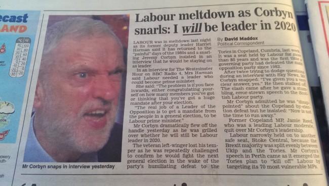 Corbyn sky news daily express