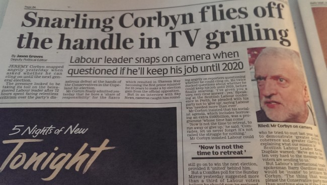 Corbyn sky news daily mail