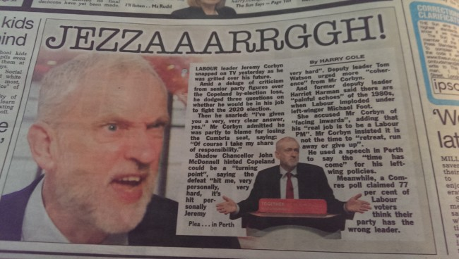 Corbyn sky news the sun