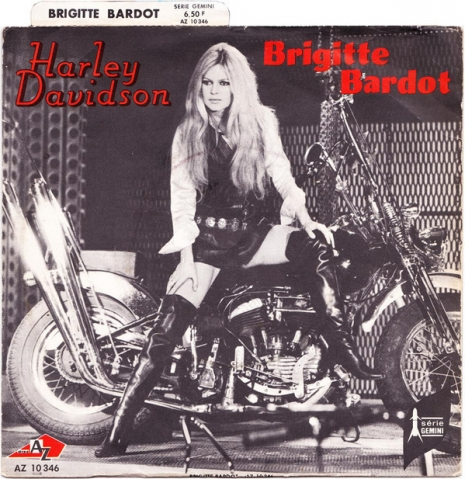 The cover for Bardot's 'Harley Davidson' hit single written by Serge Gainsbourg