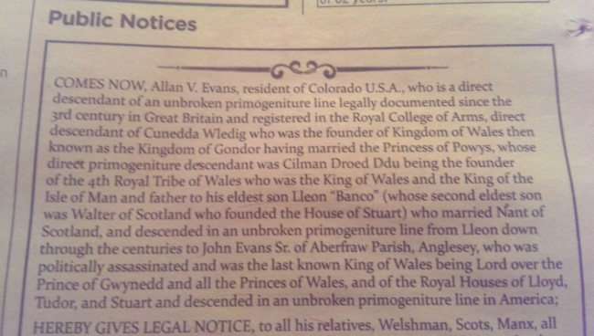 Allan V. Evans of Colorado king of britain times advert