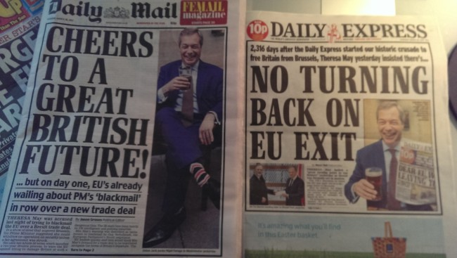 Farage pint daily express mail