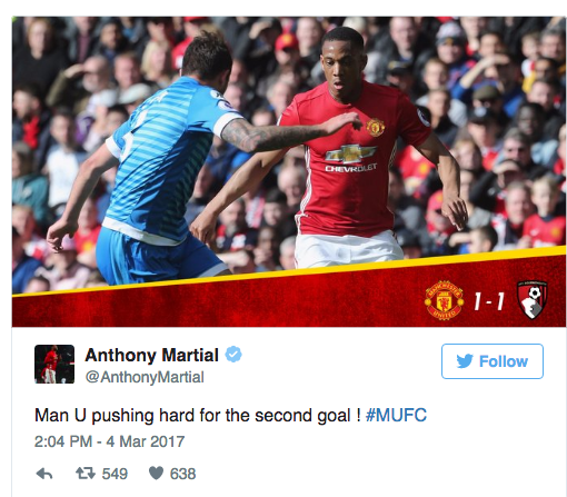 martial manchester untied tweet