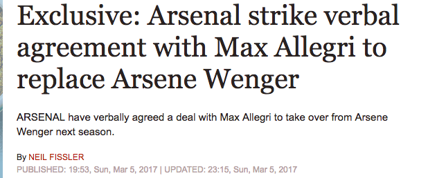 daily express arsenal fake news wenger