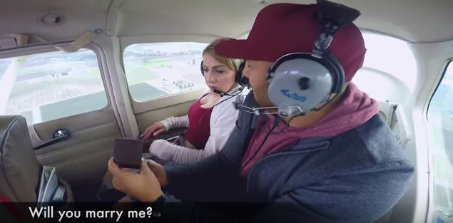 Man vomits as he proposes to girlfriend on private plane over Reedley, Ca.